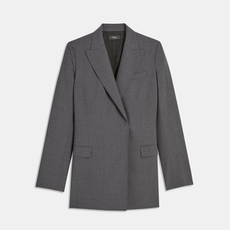Theory Good Wool Buttonless Double-Breasted Blazer