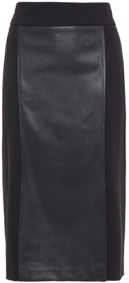 DKNY Paneled Stretch-crepe And Faux Leather Pencil Skirt
