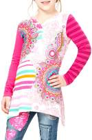 Desigual Floral Stripes Cotton T-Shirt