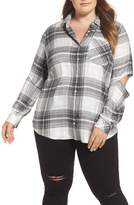 Vince Camuto Cold Elbow Linearscape Plaid Shirt