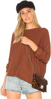 Monrow Asymmetric Dolman Sweater in Brown. - size M (also in S,XS)