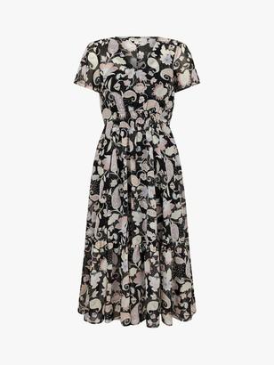 Monsoon Paisley Midi Dress, Black