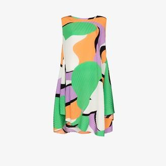 Issey Miyake Asymmetric Abstract Print Dress