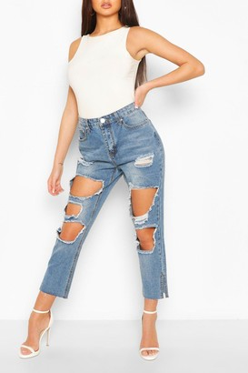 boohoo High Rise Distressed Vintage Wash Jean