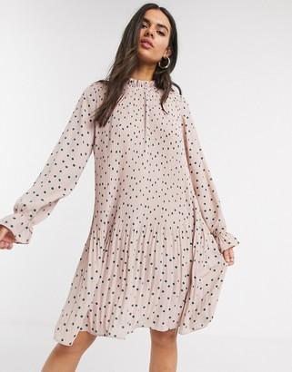 Vero Moda pleated mini dress with high neck in pink spot print