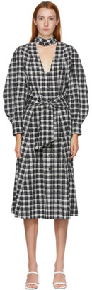 Ganni SSENSE Exclusive Black and White Seersucker Check Long Dress