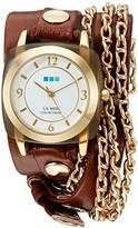 La Mer Women's Quartz Gold-Tone and Leather Watch, Color:Brown (Model: LMMULTI2016313)