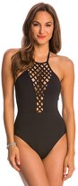 Kenneth Cole Swimwear Sheer Satisfaction Lattice High Neck One Piece Swimsuit 8145462