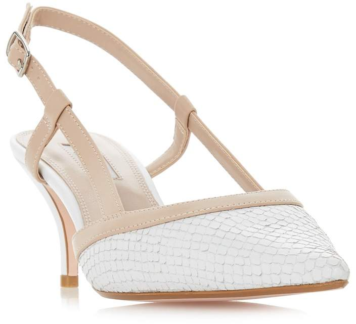 Dune - White Leather 'Corra' Mid Stiletto Heel Slingbacks