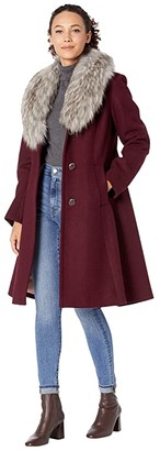 Kate Spade Fit-and-Flare Wool Coat w/ Faux Fur Collar (Mulberry) Women's Coat