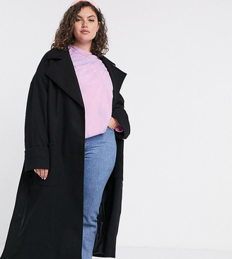 ASOS DESIGN Curve belted slouchy coat in black
