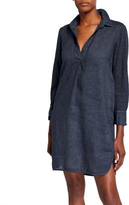 120% Lino V-Neck Spread-Collar 3/4-Sleeve Woven Jersey Mix Dress