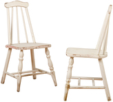 Rejuvenation Pair of Turned-Leg White Dining Chairs