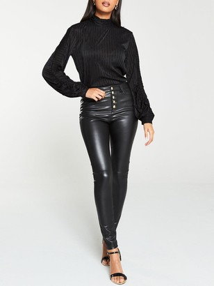 Very Faux Leather Button Front Skinny Trousers - Black