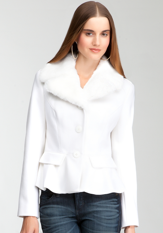 Bebe Fur Collar Peplum Wool Coat