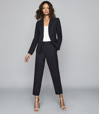 Reiss Hartley Cropped Jacket - Textured Cropped Blazer in Navy