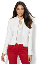 New York & Co. Seamed Faux-Leather Moto Jacket - White