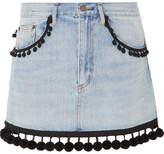 Marc Jacobs Pompom-embellished Denim Mini Skirt - Blue