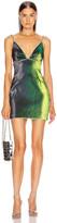 Area V Neck Mini Dress in Beetle Green | FWRD