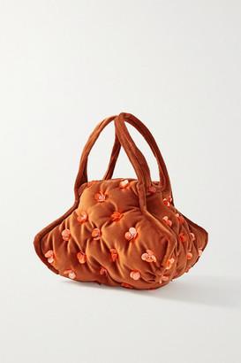 KHAORE Pillow Embellished Velvet Tote - Brown