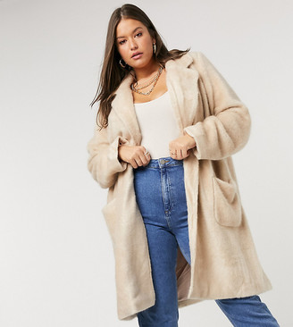 Only Curve faux fur longline coat with pocket detail in cream