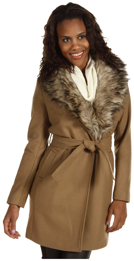 MICHAEL Michael Kors Wool Melton Wrap Coat w/ Faux Fur (Dark Camel) - Apparel