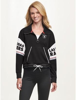 Tommy Hilfiger Las Vegas Raiders Quarter Zip Mock Neck Sweatshirt