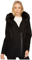 Calvin Klein Wool Asymmetric PU Trim with Removable Fur Trimmed Hood Women's Coat