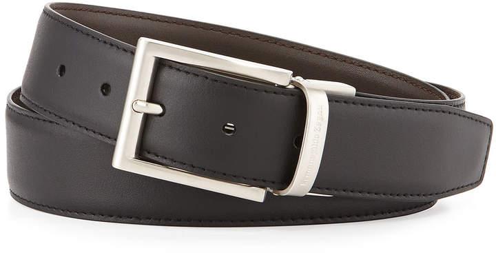 Ermenegildo Zegna Reversible Belt w/Brushed Buckle, Black/Dark Brown