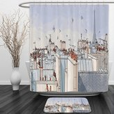Vipsung Shower Curtain And Ground MatParis City Decor Collection Paris Roofs with Eiffel Tower Birds Sky Clouds Panoramic Scenic Design Grey Ivoey BlueShower Curtain Set with Bath Mats Rugs