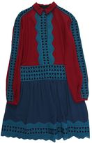 Tory Burch Bordeaux And Turquoise Silk Shirt Dress