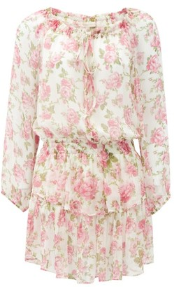 LoveShackFancy Popover Floral-print Silk-gauze Mini Dress - Pink Print