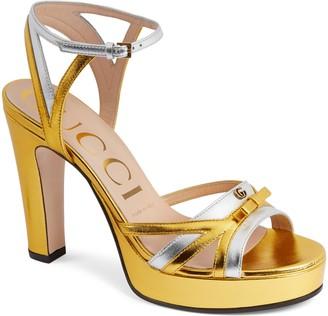Gucci Alison Metallic Platform Ankle Strap Sandal