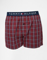 Tommy Hilfiger Flag Check Woven Boxer - Red