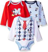 Disney Baby Boys' Mickey Mouse 3 Pack Long Sleeve Bodysuit