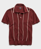 Todd Snyder Tipped Wide Stripe Mesh Polo Sweater in Burgundy