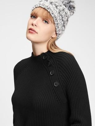 Gap Asymmetrical Button Mockneck Raglan Sweater