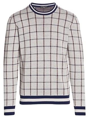 Saks Fifth Avenue MODERN Varsity Stripe Plaid Sweater