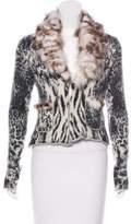 Class Roberto Cavalli Fur-Trimmed Knit Cardigan