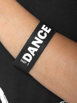 Peace Love World I am Dance Black Wide Silicone Bracelet