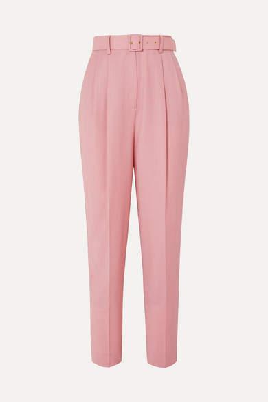 Emilia Wickstead The Woolmark Company Gus Belted Pleated Merino Wool Straight-leg Pants - Pink