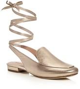 Sigerson Morrison Bena Metallic Ankle Tie Mule Loafers