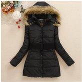 Cibeat Winter Women Belt Down Jacket Cotton Parka Fur Collar Long Hooded Hoody Coat XG Color:BLACK MODEL:L