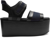 Marni Leather and canvas platform sandals