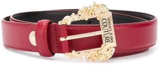 Versace logo engraved buckle belt