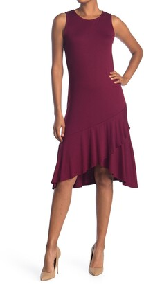 WEST KEI Sleeveless Asymmetrical Ruffle Hem Dress