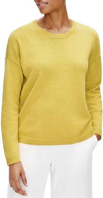 Eileen Fisher Crewneck Long-Sleeve Organic Cotton Sweater