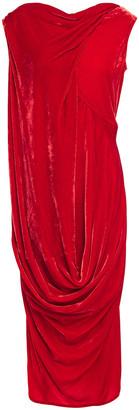 Rick Owens Draped Velvet Midi Dress