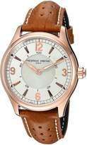 Frederique Constant Men's 'HSW' Swiss Quartz Stainless Steel and Leather Casual Watch, Color:Brown (Model: FC-282AS5B4)