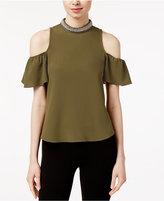 XOXO Embellished Mock-Neck Cold-Shoulder Top